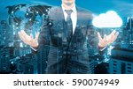 double exposure of professional ... | Shutterstock . vector #590074949