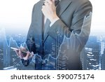 double exposure of professional ... | Shutterstock . vector #590075174