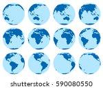 vector set of 12 flat globes... | Shutterstock .eps vector #590080550