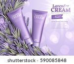 lavender cream ads  natural... | Shutterstock .eps vector #590085848