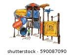 sketch of kids playground on... | Shutterstock .eps vector #590087090