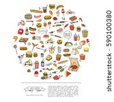 hand drawn doodle fast food...   Shutterstock .eps vector #590100380
