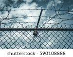 Abstract Chain Link Fence With...