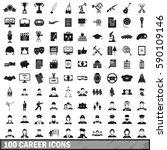 100 musician career icons set... | Shutterstock .eps vector #590109146