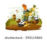 zoo worker feeds cute pandas | Shutterstock .eps vector #590115860