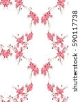 pink blossom flower watercolor...   Shutterstock . vector #590117738