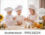 happy little children in the... | Shutterstock . vector #590118224