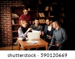 team of copywriters discussing... | Shutterstock . vector #590120669