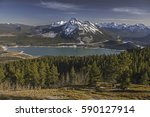 barrier lake and snowcapped... | Shutterstock . vector #590127914