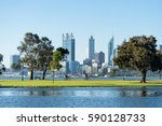 perth city skyline from south... | Shutterstock . vector #590128733