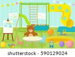 kids playroom with light... | Shutterstock .eps vector #590129024