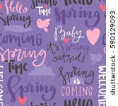 spring time lettering text... | Shutterstock .eps vector #590129093
