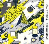 retro and trendy geometric... | Shutterstock .eps vector #590136740