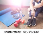 active sport woman with fitness ... | Shutterstock . vector #590140130