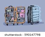 suitcase indoor and outdoor....   Shutterstock . vector #590147798