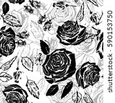 graphic floral pattern roses... | Shutterstock .eps vector #590153750