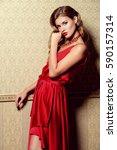 beautiful charming woman... | Shutterstock . vector #590157314