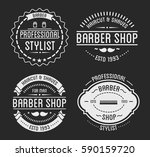set of vintage barber shop logo ... | Shutterstock .eps vector #590159720