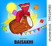 happy baisakhi  vector... | Shutterstock .eps vector #590169080