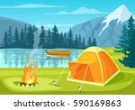 summer tourist camp in forest... | Shutterstock .eps vector #590169863