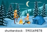 tourist camp in winter forest... | Shutterstock .eps vector #590169878