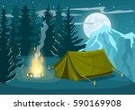 tourist camp in winter forest... | Shutterstock .eps vector #590169908