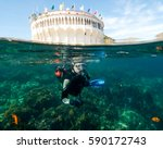 A Male Teenager Scuba Diving A...