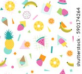 colorful summer pattern with... | Shutterstock .eps vector #590174264
