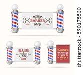 barber shop sign set with... | Shutterstock .eps vector #590175530