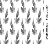 watercolor feathers seamless... | Shutterstock . vector #590178254