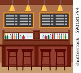interior of pub  for drinking... | Shutterstock .eps vector #590181794