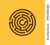 labyrinth icon. maze and... | Shutterstock .eps vector #590186060