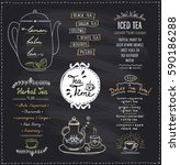 chalkboard tea time menu list... | Shutterstock .eps vector #590186288