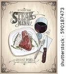 steak menu design concept with... | Shutterstock .eps vector #590187473