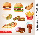 fast food cartoon icon set...