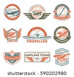 airplane vintage isolated label ... | Shutterstock .eps vector #590202980