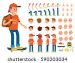teenager character creation set ... | Shutterstock .eps vector #590203034