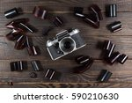 old camera and films are on the ... | Shutterstock . vector #590210630