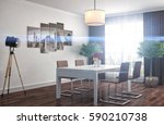 kitchen interior. 3d... | Shutterstock . vector #590210738