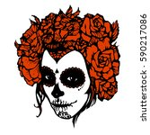 girl with skeleton make up hand ... | Shutterstock .eps vector #590217086