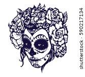 girl with skeleton make up hand ... | Shutterstock .eps vector #590217134