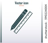 pencil and ruler icon | Shutterstock .eps vector #590224004
