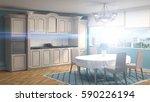 kitchen interior. 3d... | Shutterstock . vector #590226194