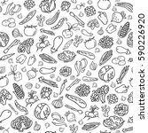 hand drawn vegetables vector... | Shutterstock .eps vector #590226920