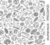 hand drawn vegetables vector... | Shutterstock .eps vector #590226920