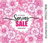 poster spring sales on a round... | Shutterstock .eps vector #590227808