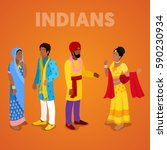 isometric indian people in... | Shutterstock .eps vector #590230934
