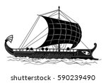 ancient greek ship with oars... | Shutterstock .eps vector #590239490