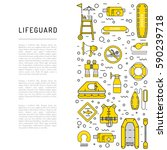 vector line icons of rescue... | Shutterstock .eps vector #590239718