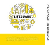vector line icons of rescue... | Shutterstock .eps vector #590239760